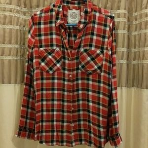 SO long-sleeve plaid button-up 2 pocketed